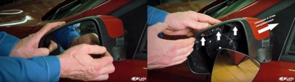 Как разобрать зеркало заднего вида на Lada XRAY