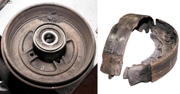 Задние колодки стираются так же, как и передние, — неравномерно. Для их замены барабан приходится снимать со ступицы вместе с подшипником