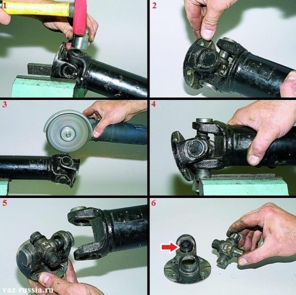 Выпрессовывание двух подшипников карданного вала и снятие крестовины совместно с вилкой
