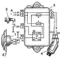 Схема включения электро-двигателя вентилятора системы охлаждения двигателя