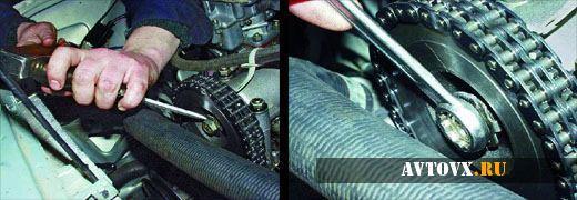 Демонтаж натяжителя цепи ВАЗ 2106