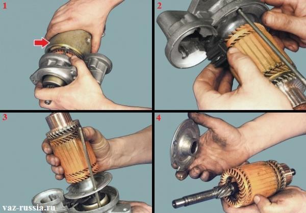 Вынимание корпуса статора, снятие пластмассовой опоры с рычага который она крепит и вынимание якоря после этого
