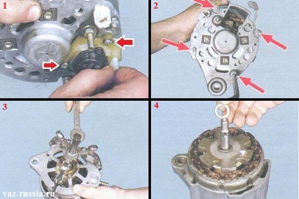 Снятие щёточного узла и снятие крышки с генератора