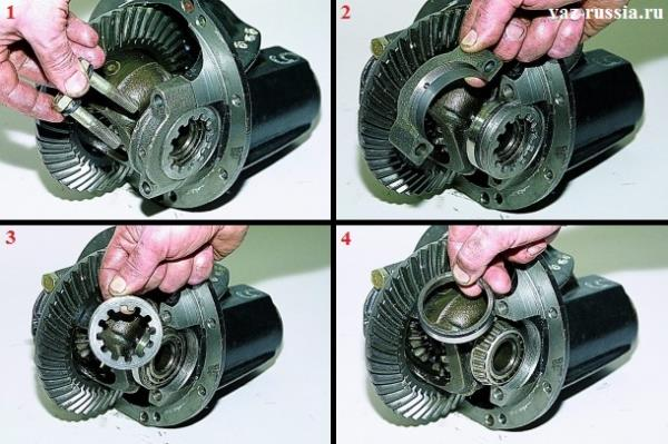 Вынимание болтов крепления крышки подшипника, снятие крышки и вынимание регулировочной гайки и наружного кольца подшипника