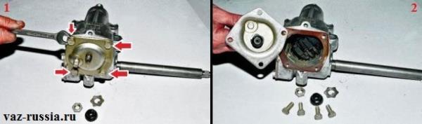 Отворачивание четырёх болтов крепления верхней крышки редуктора и её снятие