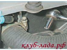 Ослабить хомут крепления подводящего шланга радиатора приоры