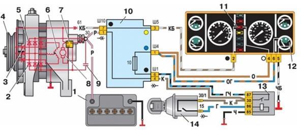Схема системы зарядки Ваз-2107