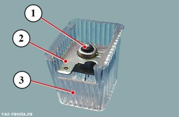 На фото изображёна лампа которая указан цифрой 1, а так же держателем 2, и рассеивателем 3