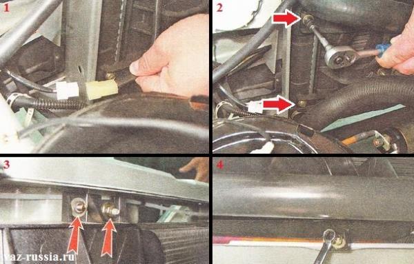 Разъединение между собой колодки проводов и разъёма и отворачивание всех гаек которые крепят вентилятор
