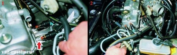 Оттягивание назад рампы и вынимание тем самым форсунок из отверстия и полное снятие после этого рампы с автомобиля