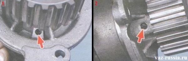 Дренажное отверстие в помпе и стопорный винт подшипника, закрутив который по сильнее, можно убрать люфт у подшипника, но только чтобы его закрутить, шкив распредвала снять будет нужно, натяжной ролик и ремень ГРМ и потом крышку отвести которая на четырёх болтах и одной гайки крепится