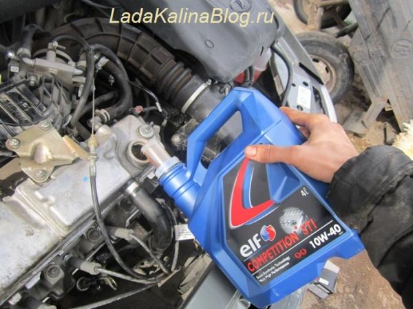 замена масла в двигателе Лады Калины