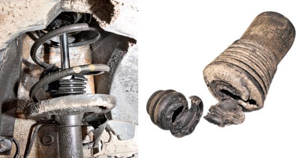 У передних стоек сперва разрушились объединенные с пыльником буферы хода сжатия, а затем отказали и сами амортизаторы