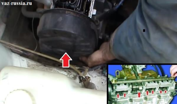 Выворачивание болтов крепления крышки ГРМ и её снятие, а так же вытирание тряпкой масла возле толкателей клапанов