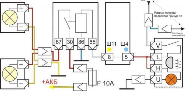 Схема подключения противотуманных фонарей ПТФ к ваз-2105, 2107 и 2104