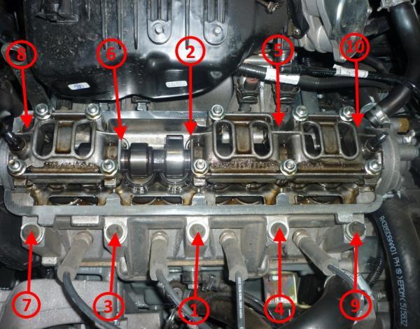 Последовательность затяжки болтов крепления головки блока цилиндров 8-клапанного двигателя Лада Гранта (ВАЗ 2190)
