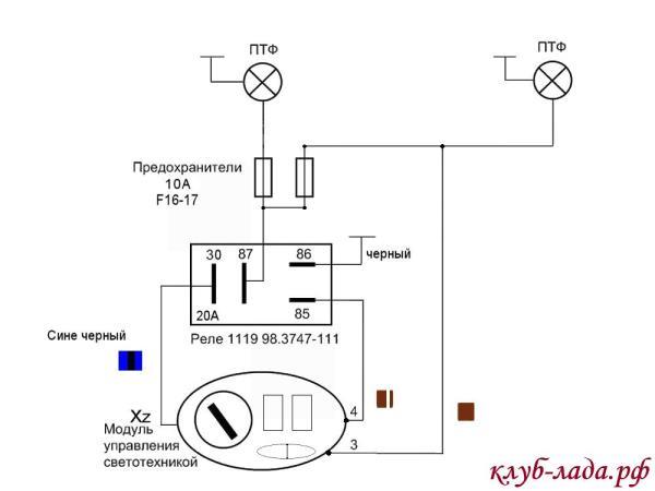 Схема подключения противотуманок к мус Калины