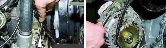 Регулировка ремня привода насоса охлаждающей жидкости Лада 2121 и 2131