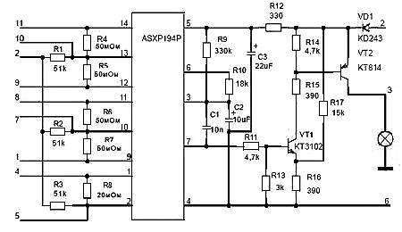 Схема реле контроля исправности ламп LADA Samara