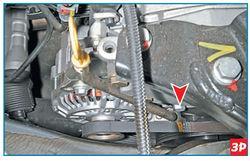 проверки натяжения ремня привода генератора