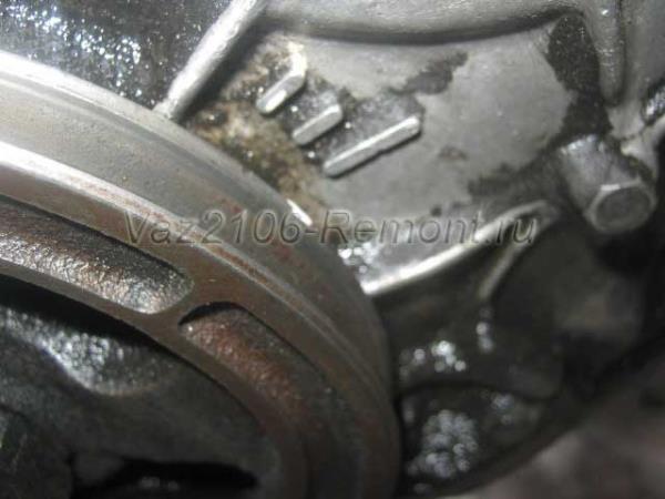 метки коленчатого вала на ВАЗ 2106