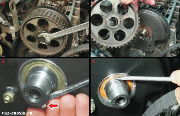 Снятие шкива распредвала происходит на фотографиях, а так же показано каким образом вынимается шпонка и снимается сам сальник с автомобиля