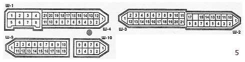 Условная нумерация штекеров в колодках монтажного блока