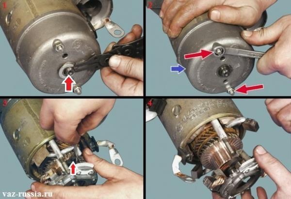 Снятие стопорного кольца, отворачивание гаек крепления крышки и снятие щёткодержателя с вала якоря