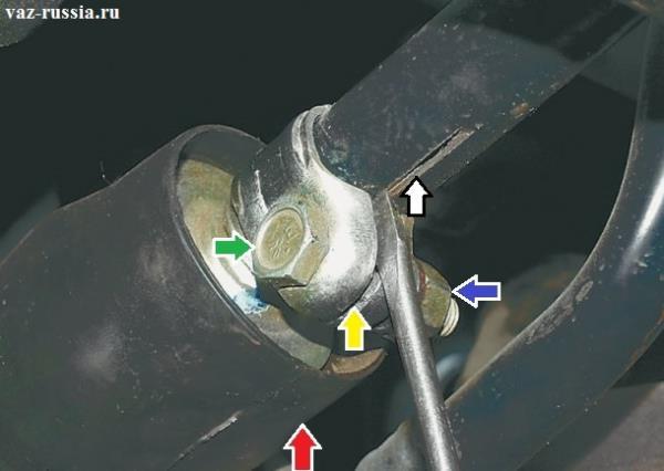 Красной стрелкой указан защитный чехол который защищает карданчик кулисы от попадания в неё грязи, а зелёной и синей стрелкой показан болт на конце которого присутствует гайка, так вот благодаря этому болту и гайки стяжной хомут стягивается и удерживает тягу на карданчике