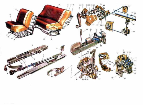 Схема сидения (двери) Ваз 2101/2102