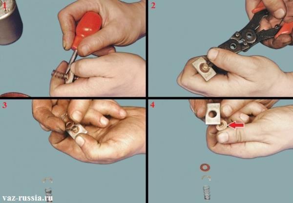 Разборка штока контактной пластины