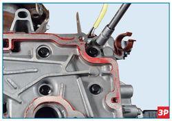 Снятие крепления крышки головки блока цилиндров Lada Largus