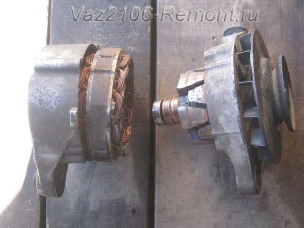 ротор и статор разобранного генератора на ВАЗ 2106