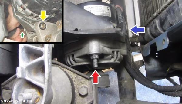 Выкручивание всех болтов и гаек крепления генератора и его снятие с автомобиля