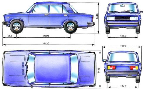Основные габаритные размеры автомобиля ВАЗ-2105