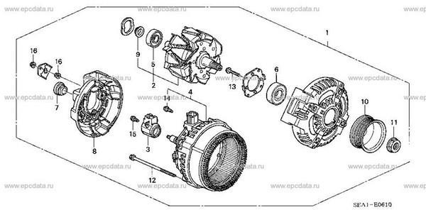 Подшипники генератора, классификация, аналоги щеточного узла для Honda Accord 7