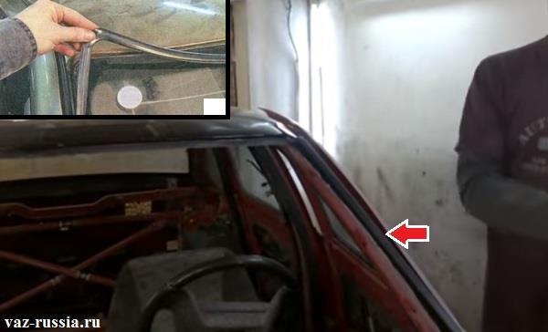 Снятие всех резинок, которые мешают снятию и установки лобового стекла на автомобиль