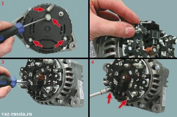 Снятие крышки генератора и выворачивание всех болтов которые регулятор крепят