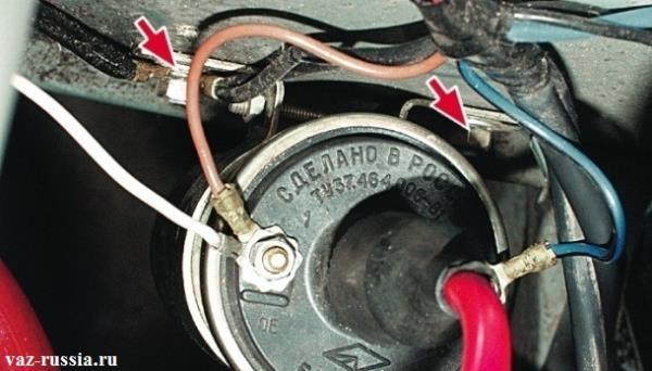 Фотография установленных проводов низкого напряжения, на катушку зажигания