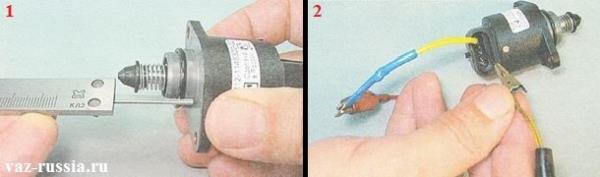 Выдвигание штока датчика ХХ при помощи проводов и аккумуляторной батареи