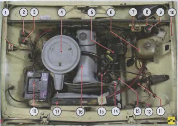 Подкапотное пространство ВАЗ-2101
