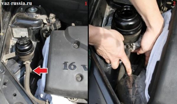 Стрелкой указан шланг который идёт на обратную подачу масла, а на фото два показано отсоединение этого шланга и закрывание при помощи тряпки отверстия в котором находится данный шланг