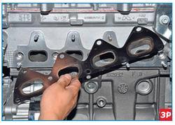 Снятие прокладки выпускного коллектора Lada Largus
