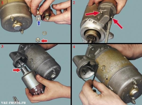 Снятие клеммы вывода обмотки статора, отворачивание винтов крепления втягивающего реле и его снятие