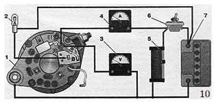 Схема соединений для проверки генератора осциллографом