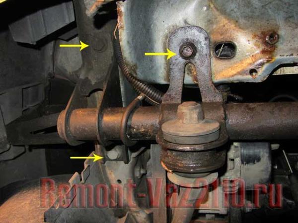 болты крепления передней балки на ВАЗ 2110-2112