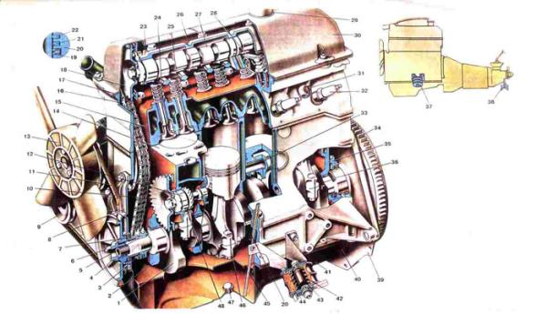 Двигатель Ваз 2101/2102 сбоку