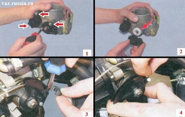 Дроссельный узел и два его датчика, а так же сектор дроссельной заслонки с наконечником троса
