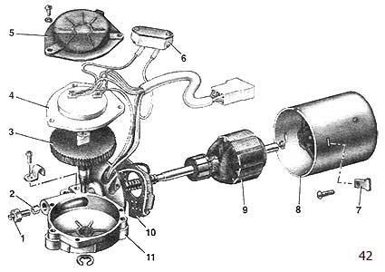 Детали моторедуктора очистителя ветрового стекла