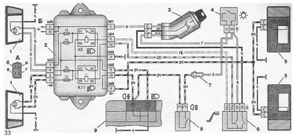 Схема включения фар и противотуманного света